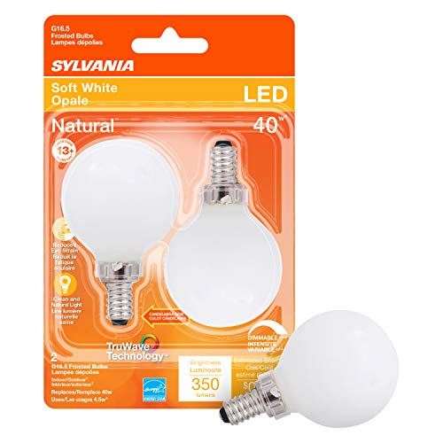 SYLVANIA LED TruWave Natural Series Décor Globe G 16.5 Light Bulb, 40W Equivalent, 4.5 Efficient, Candelabra Base, Dimmable, 350 Lumens, 2700K, Frosted, Soft White - 2 Pack (40797)
