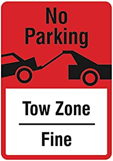 No Parking Tow Zone Sign - Large Business Parking Lot Warning Signs - Aluminum Metal 2 Pack, 12x18