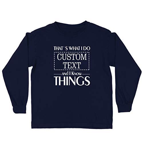 lepni.me Camiseta para Niño/Niña Costumbre Eso es lo Que Hago Personalizada y sé Cosas (9-11 Years Azul Multicolor)