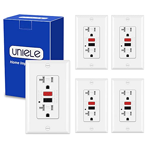 (5 Pack) UNIELE 20 Amp GFCI Outlet, Tamper-Resistant Ground Fault Circuit Interrupter, 20A GFI Receptacle with LED Indicator, ETL Listed