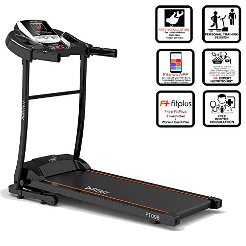 Fitkit FT098 1.5HP (2HP Peak) Motorized Treadmill with Free Installation , Fitplus 6 Month Diet and Health Plan & Max.Speed 12.8 km/hr