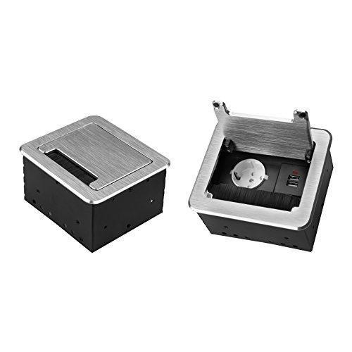 Einbausteckdose 2-4-fach & 2 Farben auswählbar Tischsteckdose Bodensteckdose (1x 230V + 2x USB, Silber)