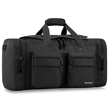 Gonex 45L Travel Duffel, Gym Sports Luggage Bag Water-resistant Many Pockets(Black)