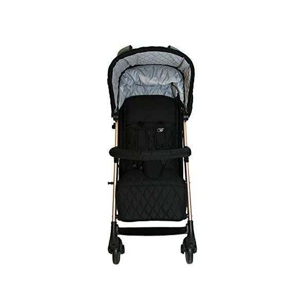 My Babiie Faiers MB51 Rose Gold Black Quilted Stroller MB51QG My Babiie Meet the My Babiie Billie Faiers MB51 Rose Gold Black Quilted Stroller with its stylish rose gold frame and luxurious black quilted fabrics. Stylish ultra-modern stroller, stunning complimentary colour handles, height adjustable handles, Lightweight & strong aluminium chassis, easy fold technology, lockable front swivel wheels, side carry handle, compact fold Hood includes storage pocket, full recline (suitable from birth), padded 5 point safety harness, small to store when folded 5