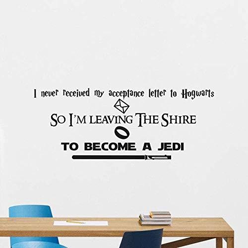 para convertirse en un Jedi-Youth Etiqueta de la pared personalizada Vinilo removible Etiqueta de la pared DIY Autoadhesivo Etiqueta impermeable Decoración del hogar interior 57 * 23cm