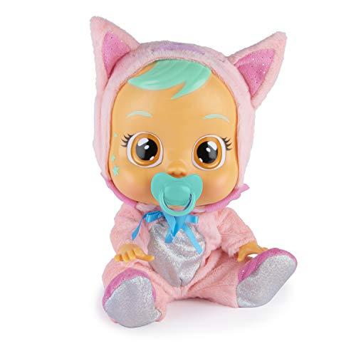 Bebés Llorones Fantasy Foxie - Muñeca Interactiva que llora de verdad con chupete y pijama rosa de Zorro