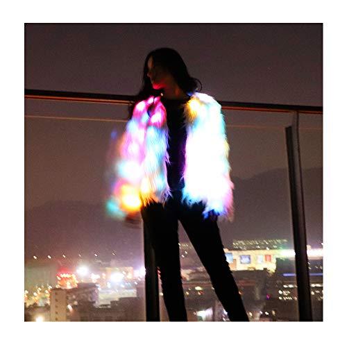 SHINYOU Women Faux Fur Coat LED Light Up Jacket Chirstmas Costume Gift Winter Coat (Multicolor, XL(130~140lb))