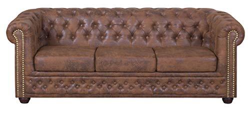 Küchen-Preisbombe Edles Chesterfield Sofa 3 Sitzer in Mikrofaser Vintage braun Couch Polstersofa