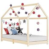 vidaXL Bois de Pin Massif Cadre de Lit d'enfant Lit Cabane d'enfant Structure de Lit pour Enfants Chambre d'enfant Maison Intérieur 70x140 cm