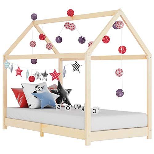 vidaXL Madera Maciza de Pino Estructura de Cama Infantil Mueble para Habitación Dormir Cuarto de Niños 70x140 cm