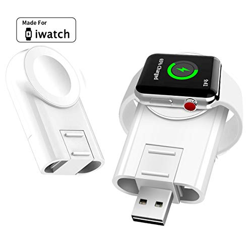 iWatch Charger,Charger for Apple Watch Wireless Portable Adjustable Magnetic Charger with USB Port Travel Cordless Charge Compatible for Apple Watch Series 5 4 3 2 1