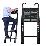 Aluminium Telescopic Ladder 16.5Ft/5M w/Heavy Duty Hook,Soft-Close Extension Folding Multi-Purpose Portable Ladders for Outdoor Indoor Home Loft Stair Office