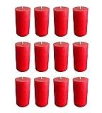 Collumino - Candele a colonna, colore: rosso tinta unita, dimensioni: 10x 5,5cm, durat...