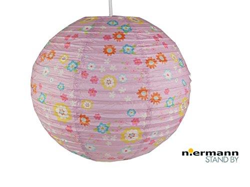 Papierlampe fürs Kinderzimmer - Lampenschirm mit BLÜMCHEN Muster - Pendelleuchte mit Aufhängung