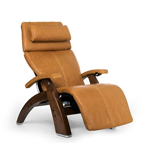 Perfect Chair Human Touch PC-610 Omni-Motion Classic Power Recline Zero Gravity Recliner Supreme Upholstery Package Walnut Wood Stain - Sycamore Premium Leather - in-Home White Glove Delivery