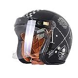 Casco Retro de Motocross de Fibra de Vidrio para Adultos Crucero a Prueba de choques Ligero Chopper Cafe Racing Motos de Seguridad eléctricas Casco de Motocicleta Harley de Cara Abierta clásico