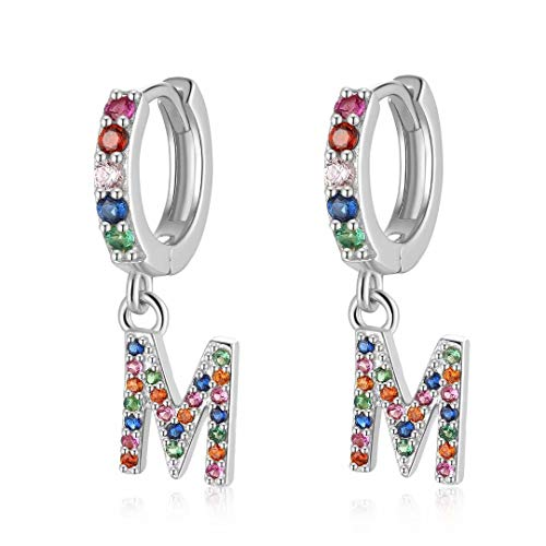 Qings Ohrringe Mädchen Buchstabe Damen Silber Buchstaben Creolen mit M Anhänger Buchstabe M925 Sterling Silber CZ Ohrringe Baumeln Hoop Ohrringe fÜR Mädchen Frauen Geburtstag