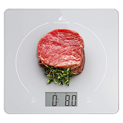 Greater Goods Kitchen Glass Meat Scale. Also Great for General Cooking, Baking, and Meal Prep with Surface for Easy Cleaning and Reducing Food-Borne Bacteria. Designed in St. Louis (Silver)