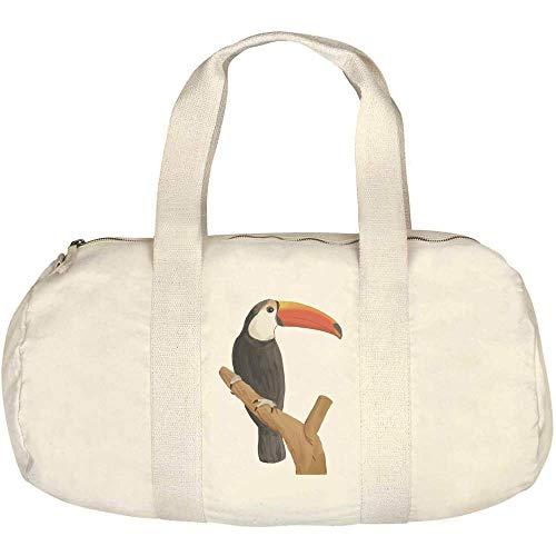Azeeda 'Perched Toucan' Canvas Duffle / Gym Bag (DF00014918)