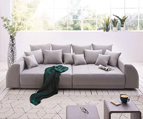 DELIFE Bigsofa Violetta Grau 310x135 cm abgesteppt inklusive 12 Kissen Big-Sofa