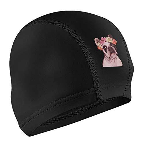 Lycra Swim Cap Frenchie French Bulldog Rose for Long Hair Novelty Swimming Caps Cover Ears Unisex-Adult