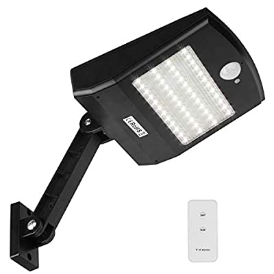 GBGS Outdoor Solar Gutter Wall Sconces Security Lights Lithium Battey Remote, 900LM, 4 Working Modes, Dusk to Dawn, PIR Motion Sensor, Adjustment Lighting Angle, 6000K for Porch Front Gate Backyard