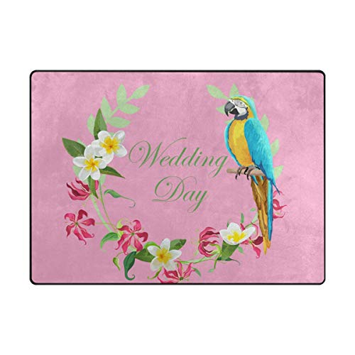 MALPLENA Mariage Jour Parrot Zone Tapis antidérapant Pad Moyen d'entrée Paillasson Tapis de Sol Chaussures Grattoir, Polyester, 1, 63 x 48 inch