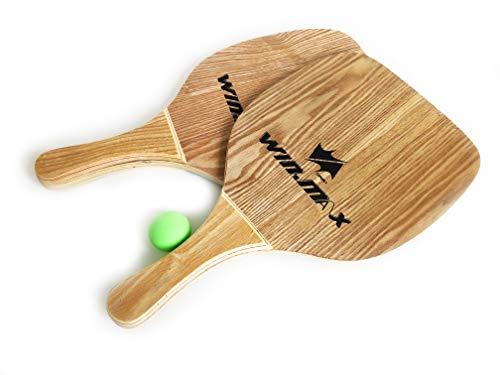 Beach Paddle 2er Set Strand Tennis Schläger für Erwachsene aus Holz (Farbe: Braun) mit Ball, Schlagfläche 22,5 cm, passend für Pools, Meer, Strand