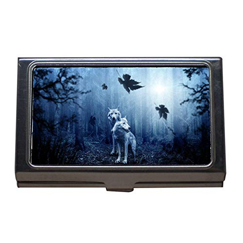 Titular de la tarjeta de visita Monedero ID de tarjeta de crédito, Wolf Forest Autumn Dark Predator Animal Hunter, Estuche de tarjeta de visita de acero inoxidable