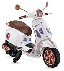 Classic Vespa design with Disney Princess graphics. Seats one rider, ages 3 – 5, with a maximum weight of 60 lbs. Horn/engine sound effects, FM radio, and MP3 player add to the fun. Under-seat storage is the perfect place for snacks and toys. Real fo...