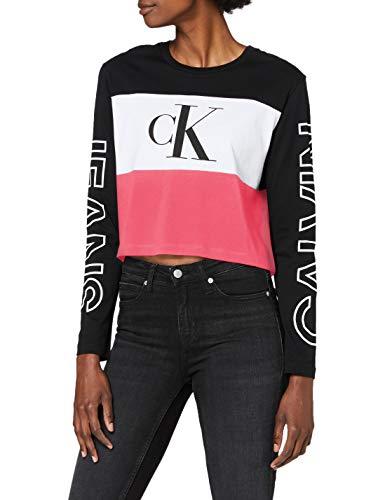 Calvin Klein Jeans Damen Blocking Statement Logo Ls Tee Hemd, Black Pink White, XS