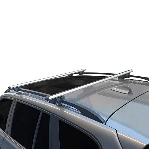 RE&AR Tuning Compatible para Renault Kangoo 2004-2008 Barras de techo Portaequipajes Aluminio Gris modello alto