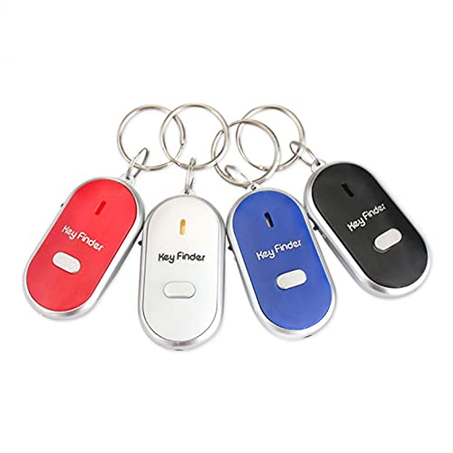 LED Anti-Lost Key Finder GPS Trackers, Mini Portable Keychain, Whistle Sound Control Keyring Seeker Key Locator Battery Powered(Included)