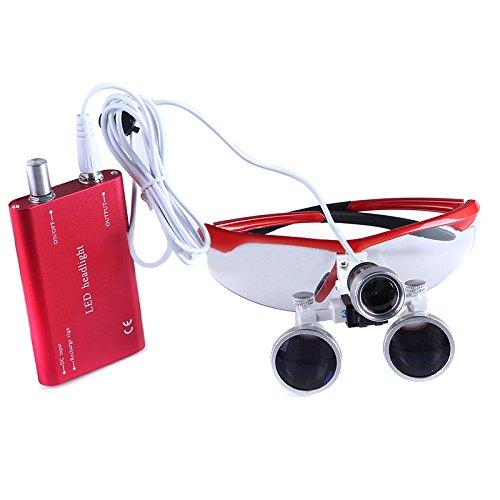 BoNew Tragbares chirurgisches Fernglas für die Zahnarzt, 3,5-fache Vergrößerung, optisches Glas, mit/ohne Kopf, LED-Licht, Rot (mit LED-Licht)