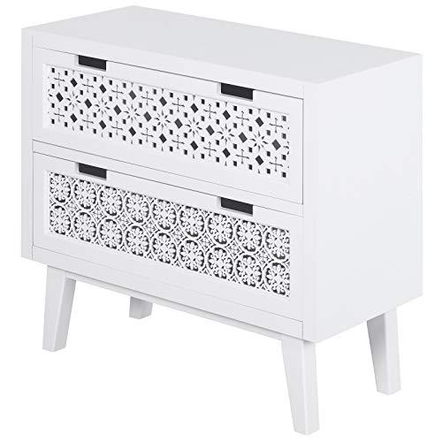 HOMCOM Nachttisch mit 2 Schubladen, Erhöhter Nachtschrank, Beistelltisch, Nachtkommode, Massivholz Weiß 65 x 30 x 61 cm