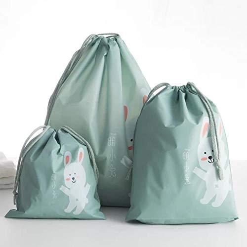 aifengxiandonglingbaihuo Tragbare süße Ente Staub Stoffbeutel PVC Kleidung Socken Unterwäsche Schuhe Reiseaufbewahrungstasche Organizer Kleidung Verpackung Kordelzugbeutel, Moe Kaninchen Set