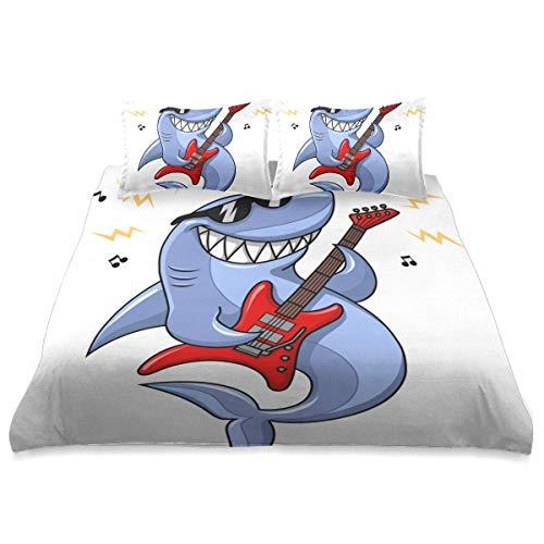 Funda nórdica, Gafas de Sol de tiburón de Dibujos Animados, Vector de Guitarra eléctrica, Juego de Cama de Microfibra de 3 Piezas, Ultra Suave, cómodo diseño Moderno