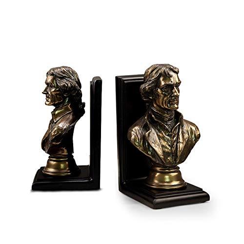LISAQ Sujetalibros Estatua Estatua Cabeza Sujetalibros Decoración de Estudio en el hogar (Paquete de 2)