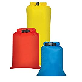 Outdoor Products 3-Pack All Purpose Dry Sack, One Size, Assorted, Model:195EC-000 1 Three lightweight, waterproof dry sacks for backpacking, kayaking, or adventure travel; includes 2-, 4-, and 8-liter bags Soft and flexible rip-stop fabric with watertight roll-top closure for maximum compression Polyurethane-coated with watertight, double-stitched, tape-sealed seams for waterproofing