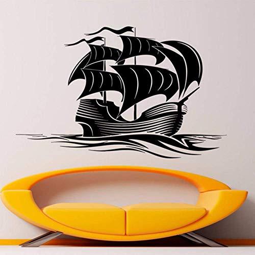 42X68Cm Seeschiff Aufkleber Segelschiff Kunst Vinyl Segelboot Dekor Galeone Boot Wandbilder für Wohnzimmer DIY Dekoration