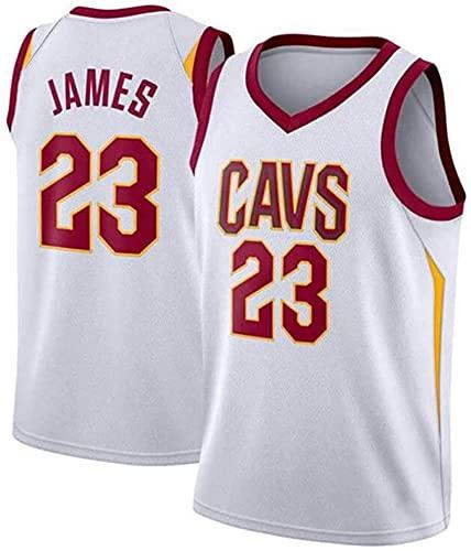 QiuiuQ Jerseys De La NBA De Los Hombres - Cleveland Cavaliers # 23 JA-Mes Fan De Baloncesto Uniforme - Chaleco Bordado De Malla Transpirable,Blanco,L