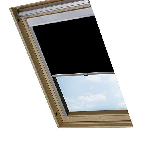 Rapid Teck® Thermo Verdunkelungsrollo passend für Velux Dachfenster / C02 / Schwarz / 100% Verdunkelndes Rollo