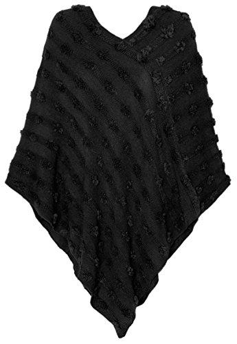 dy_mode Eleganter Damen Poncho Pullover Strickponcho im Punkt-förmigen Strick-Muster u.v.m. - 5 Farben - PJ023 (PJ023-Schwarz)