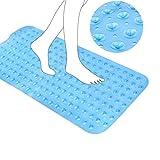 Nuluxi Azul PVC Antibacteriana Alfombrilla Baño Extra Larga Alfombrilla de Baño Guijarros Caucho Natural Antideslizante Esterilla Ducha Utilizado para Cuarto de Baño Niños y Placas de Ducha (Azul)