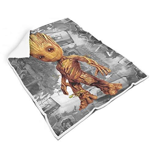 Generic Branded Baby Groot Manta cuadrada cómoda para niños y adultos cama viajes grande y pequeña manta regalos para amigos día de San Valentín blanco 60 x 80 pulgadas