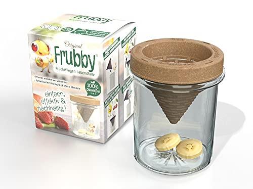 frubby® - Die nachhaltige Fruchtfliegen-Lebendfalle - geeignet für Taufliegen Obstfliegen Essigfliegen - wiederverwendbar - spülmaschinengeeignet - 100% plastikfrei - ohne Chemie (1'er Pack)