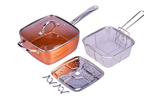 XSQUO Useful Tech Rebajas !! Olla Freidora 4 en 1 de Cobre y cerámica es súper Resistente Función de Wok, sartén, Olla de Horno y freidora. Vital Copper