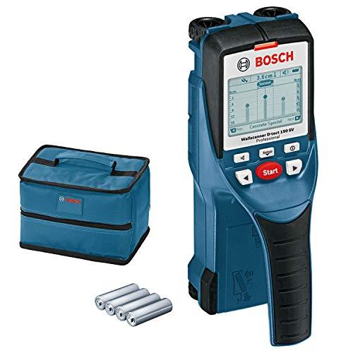 Bosch Professional Detector de pared D-tect 150 SV (máx. profundidad de detección madera/cables con tensión/tubos de plástico/metal: 40/60/80/150mm, 4 pilas AA, con funda, en caja)