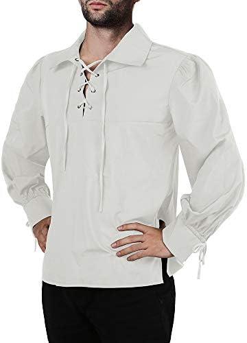 Mens Medieval Pirate Shirt Viking Renaissance Lace up Mercenary Halloween Scottish Jacobite product image
