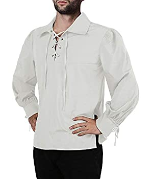 Mens Medieval Pirate Shirt Viking Renaissance Lace up Mercenary Halloween Scottish Jacobite Ghillie Tops
